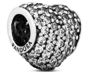 Pandora Pave Heart Charm - Silver/Clear - Brilliant Co