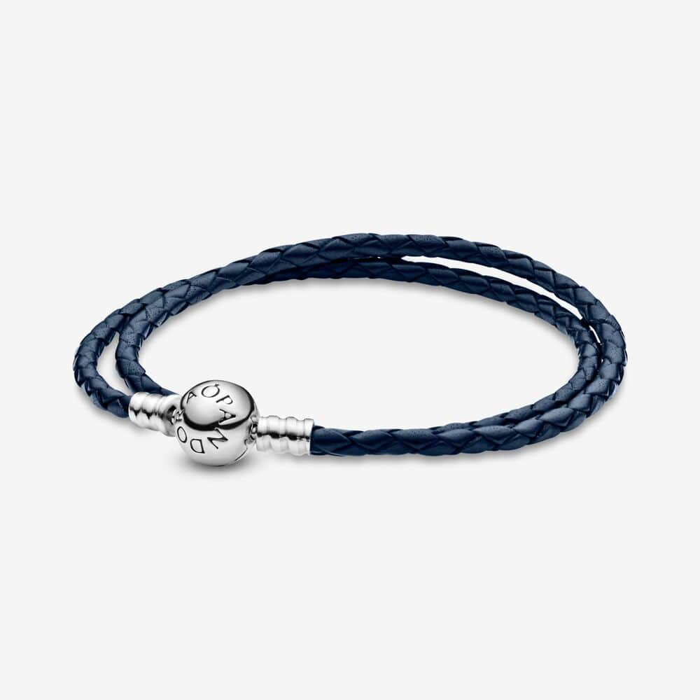 MOMENTS Blue Double Woven Leather Bracelet - Brilliant Co
