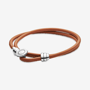 MOMENTS Golden Tan Double Leather Bracelet with PANDORA Button Clasp - Brilliant Co