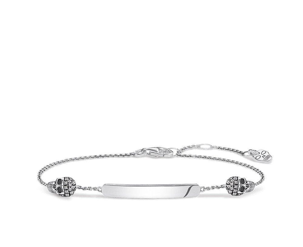 THOMAS SABO LB OXIDISED SKULL DIA BRACELET 19cm - Brilliant Co