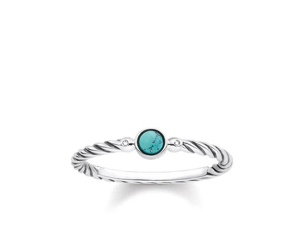 THOMAS SABO TURQUOISE TWIST DIA RING - Brilliant Co
