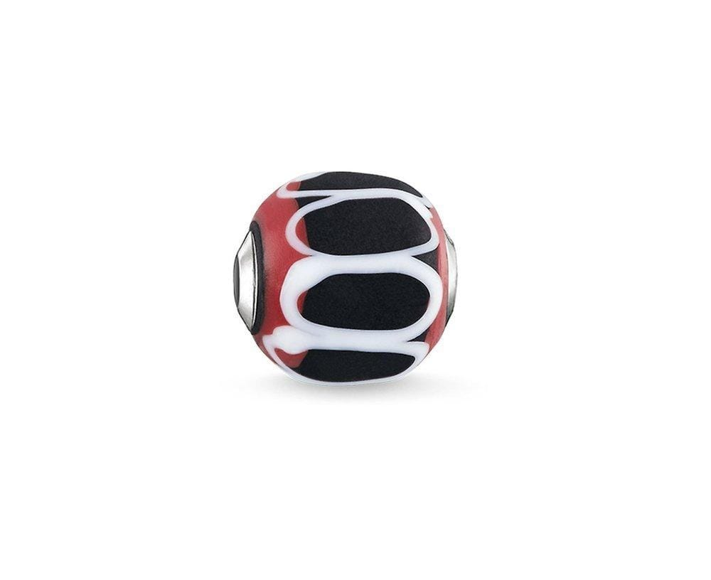 THOMAS SABO BLACK RED WHITE GLASS KARMA BEAD - Brilliant Co