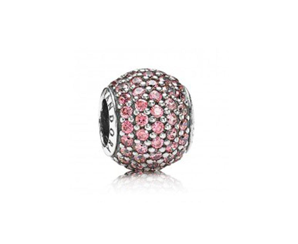 Pandora Pave Ball Charm - Silver/Salmon - Brilliant Co