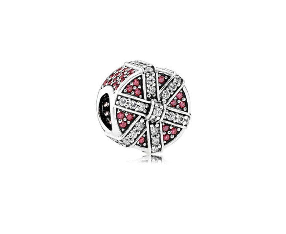 Pandora Red Shimmering Gift Charm - Silver/Clear Zirconia/Red - Brilliant Co