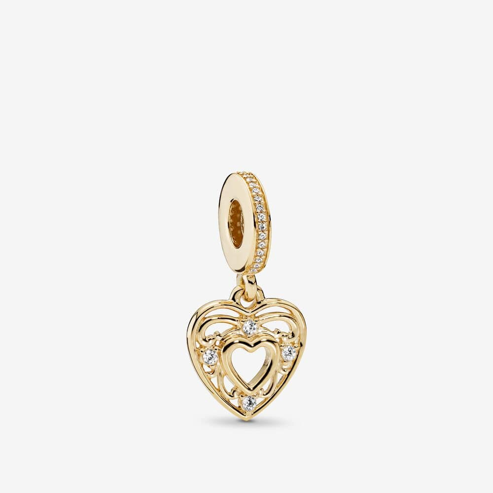 14ct Gold Romantic Heart Hanging Charm