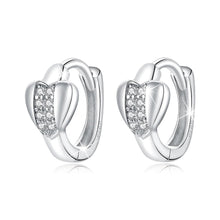 Load image into Gallery viewer, 925 Sterling Silver Earrings Solid 925 Sterling Silver Cubic Zirconia Middle Paved Heart Shaped Hoop Earrings