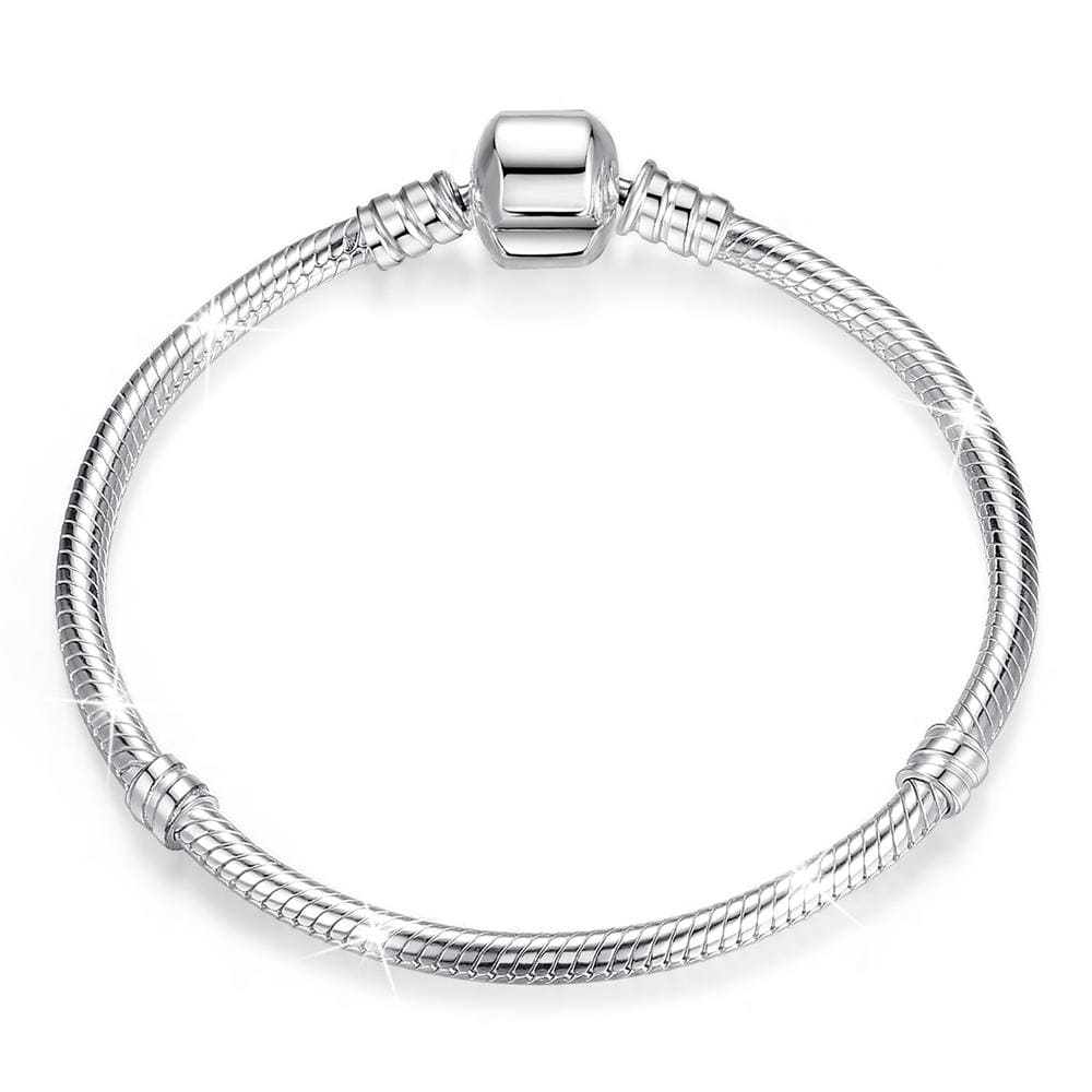 Solid 925 Sterling Silver Pandora Inspired Barrel Clasp Snake Chain Bracelet - Brilliant Co