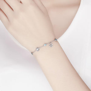 Solid 925 Sterling Silver Snowflakes Bracelet - Brilliant Co
