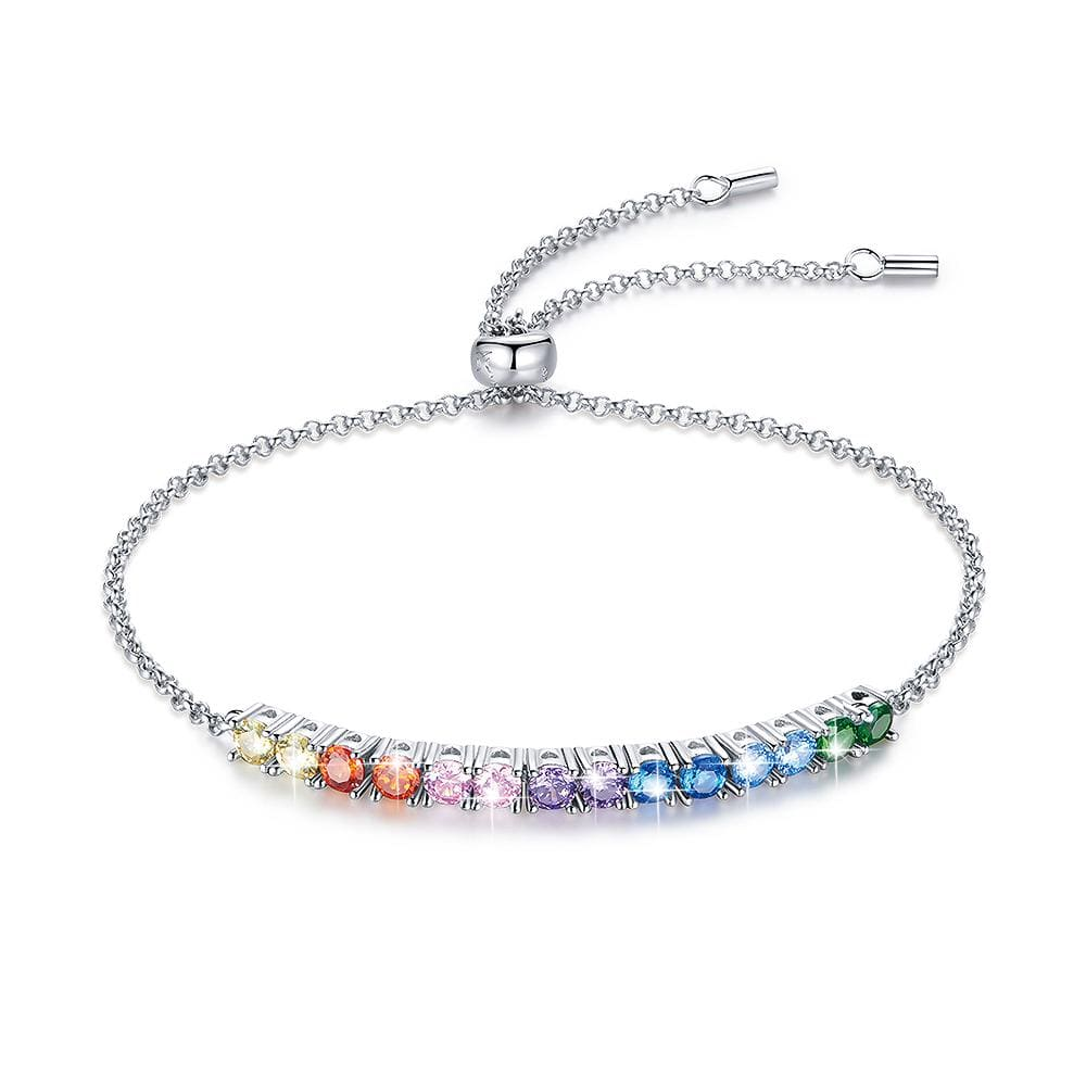 Solid 925 Sterling Silver Rainbow Cubic Zirconia Slider Bracelet - Brilliant Co