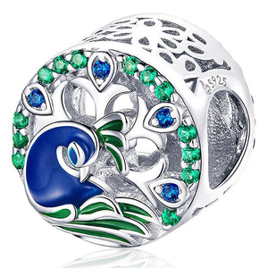 Solid 925 Sterling Silver Colorful Peacock Animal Pandora Inspired Charm - Brilliant Co