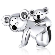 Load image into Gallery viewer, Solid 925 Sterling Silver Baby and Mama Koala Animal Pandora Inspired Charm - Brilliant Co