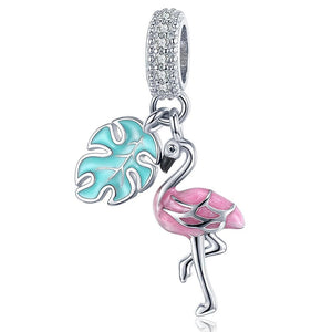 Solid 925 Sterling Silver Flamingo Animal Pandora Inspired Charm - Brilliant Co