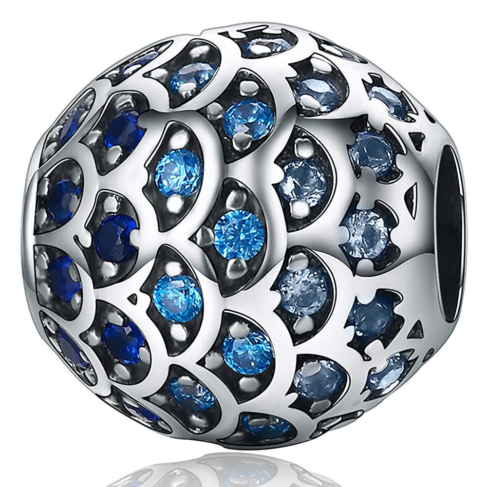 Solid 925 Sterling Silver Blue Mermaid Scale Pandora Inspired Charm - Brilliant Co