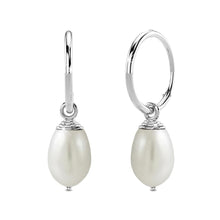 Solid 925 Sterling Silver Raindrop Pearl Hoop Earrings - Brilliant Co