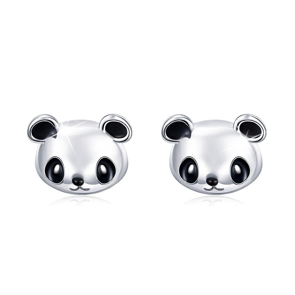 Solid 925 Sterling Silver Panda Face Earrings - Brilliant Co