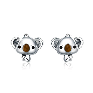 Solid 925 Sterling Silver Big Head Baby Koala Earrings - Brilliant Co