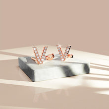 Load image into Gallery viewer, Solid 925 Sterling Silver Glamour Alphabet Letter Earrings Rose Gold - V - Brilliant Co