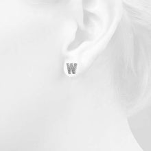Load image into Gallery viewer, Solid 925 Sterling Silver Glamour Alphabet Letter Earrings  - W - Brilliant Co
