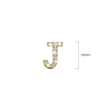 Load image into Gallery viewer, Solid 925 Sterling Silver Glamour Alphabet Letter Earrings Gold - J - Brilliant Co