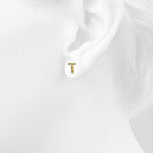 Load image into Gallery viewer, Solid 925 Sterling Silver Glamour Alphabet Letter Earrings Gold - T - Brilliant Co