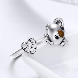 Solid 925 Sterling Silver Big Head Baby Koala Adjustable Fashion Ring - Brilliant Co