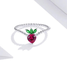 Load image into Gallery viewer, Solid 925 Sterling Silver Strawberry Ball Chain Ring - Brilliant Co