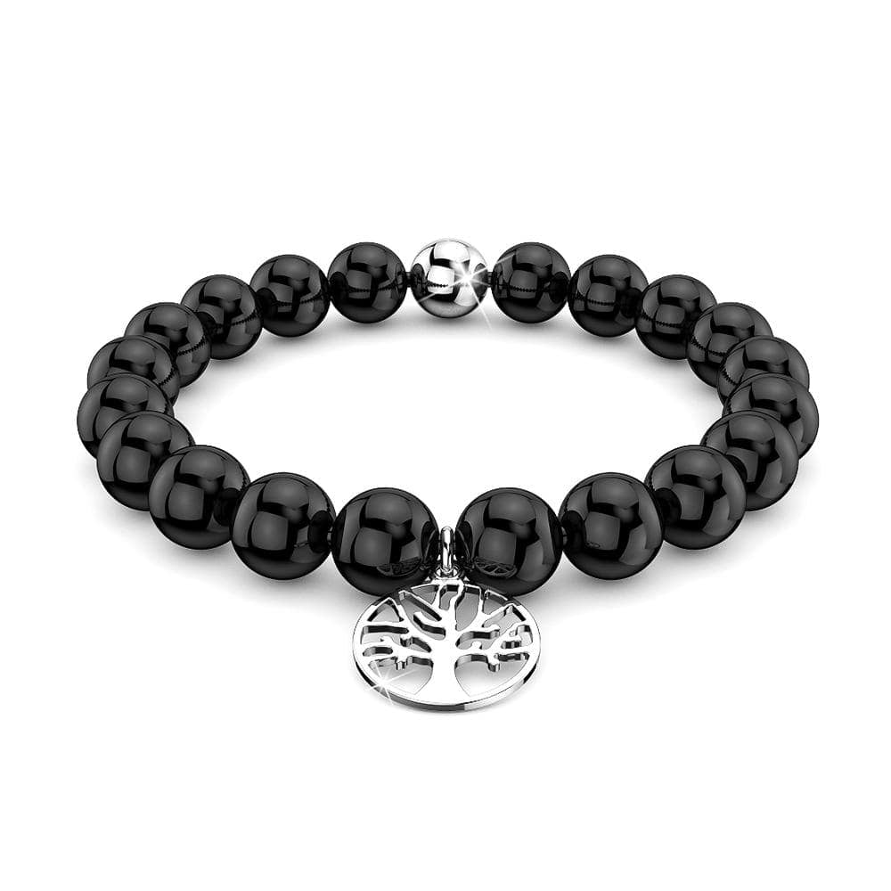 Solid 925 Sterling Silver Tree of Life Black Agate Beaded Bracelet