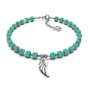 Solid 925 Sterling Silver Single Wing Turquoise Beaded Bracelet - Brilliant Co
