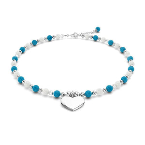 Solid 925 Sterling Silver Heart Turqoise Lapis Lazuli and Freshwater Pearls Beaded Bracelet