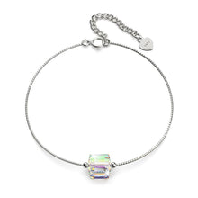 Load image into Gallery viewer, Solid 925 Sterling Silver Cubic Single Stone White Gold Filled Bracelet Embellished with Crystals from Swarovski® - Brilliant Co