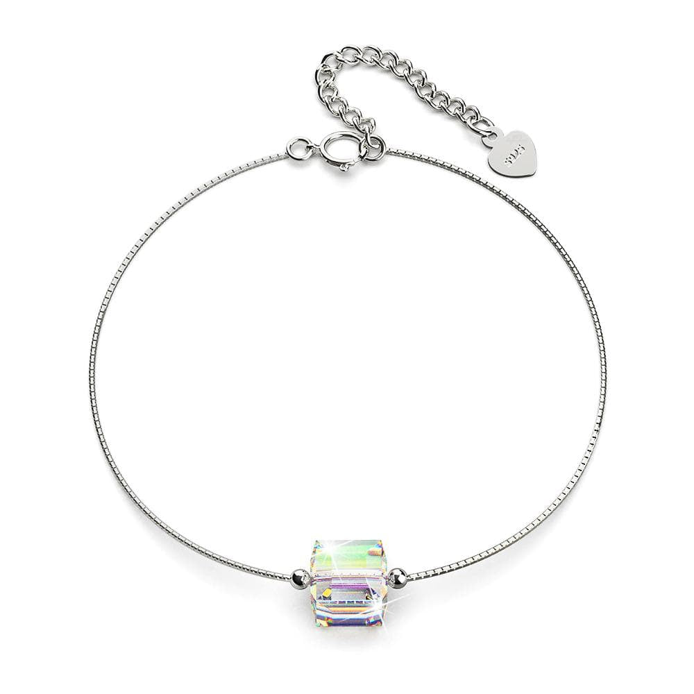 Solid 925 Sterling Silver Cubic Single Stone White Gold Filled Bracelet Embellished with Crystals from Swarovski® - Brilliant Co