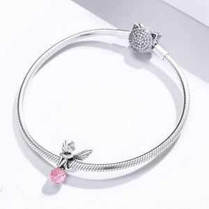 Solid 925 Sterling Silver Fairy King Pink Crystal Pandora Inspired Charm - Brilliant Co