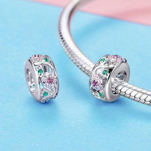 Solid 925 Sterling Silver Colourful Floral Flower Pandora Inspired Charm - Brilliant Co
