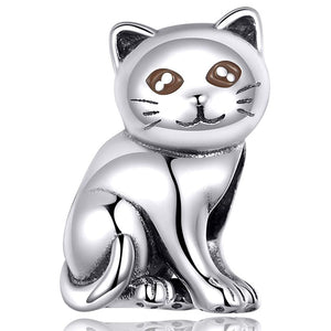 Solid 925 Sterling Silver Kitty Cat Love Pandora Inspired Charm - Brilliant Co