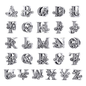 Solid 925 Sterling Silver Vintage Inspired Antique Alphabet Charm A - Brilliant Co