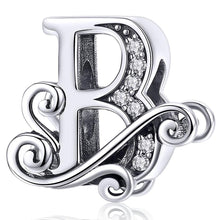 Solid 925 Sterling Silver Vintage Inspired Antique Alphabet Charm B - Brilliant Co