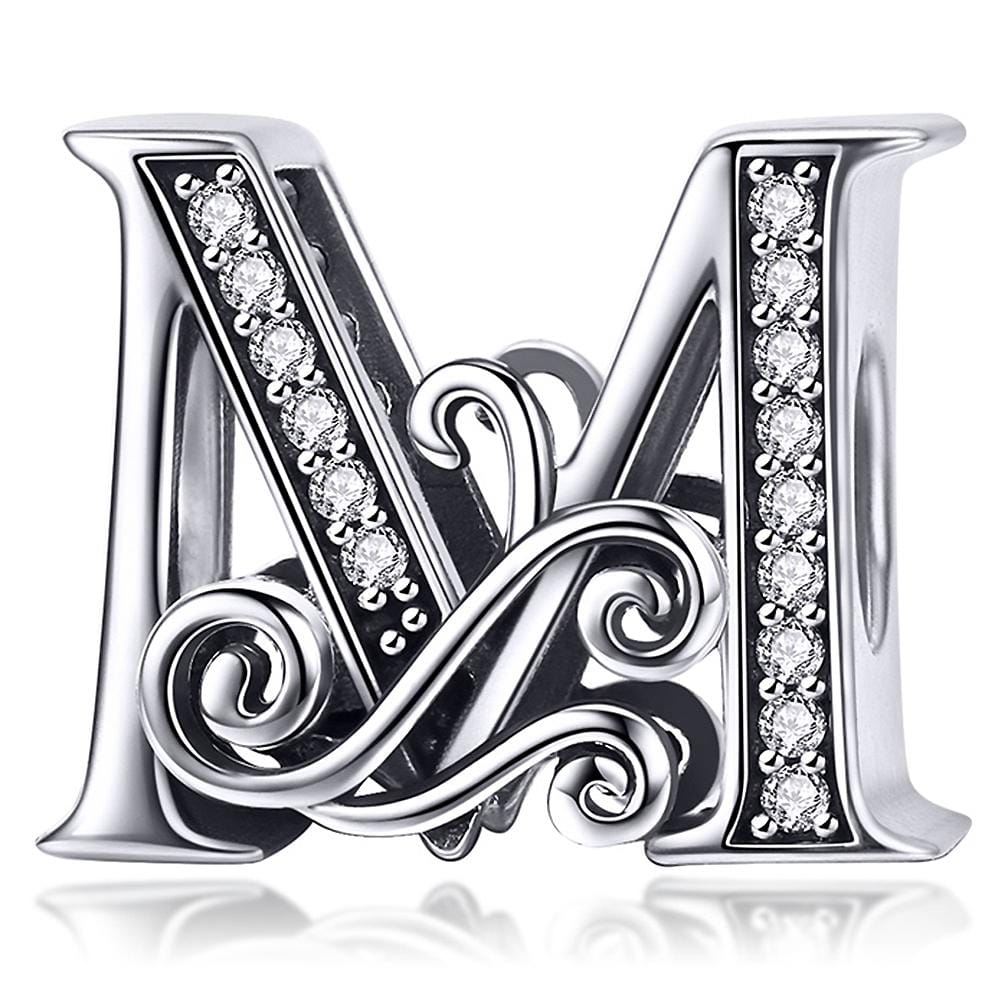 Solid 925 Sterling Silver Vintage Inspired Antique Alphabet Charm M - Brilliant Co