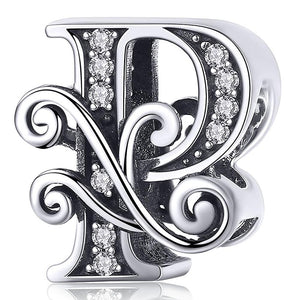 Solid 925 Sterling Silver Vintage Inspired Antique Alphabet Charm P - Brilliant Co