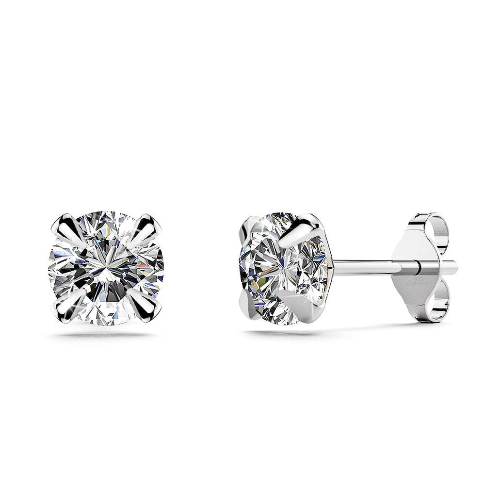 Solid 925 Sterling Silver Round Brilliant Cut Stud Earrings - Brilliant Co