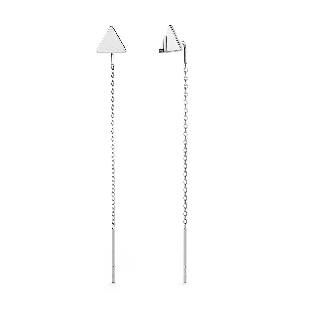 Solid 925 Sterling Silver Triangle Threader Earrings - Brilliant Co