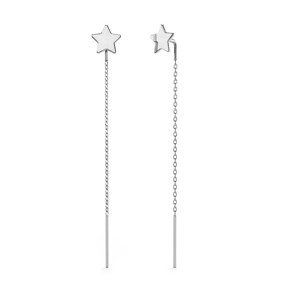 Solid 925 Sterling Silver Star Threader Earrings - Brilliant Co