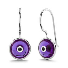 Solid 925 Sterling Silver Saucer Earrings Purple - Brilliant Co