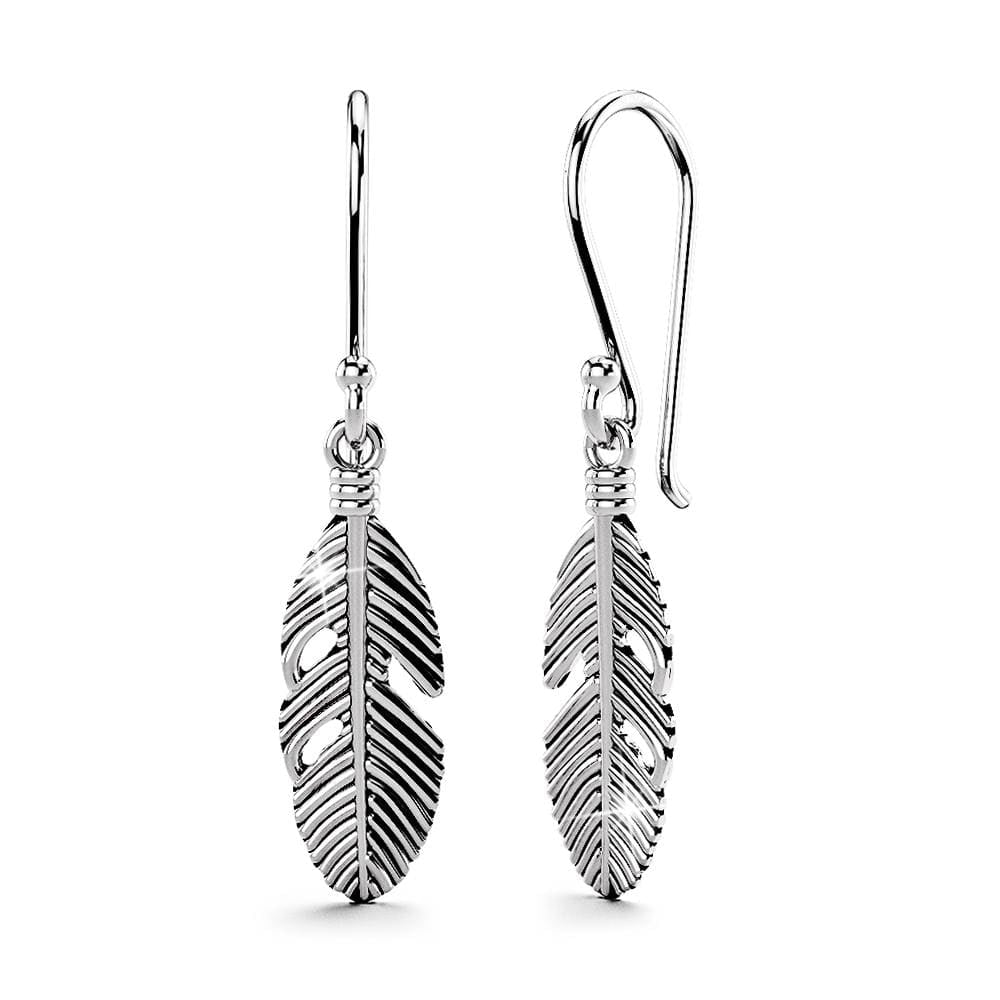 Solid 925 Sterling Silver Oxidised Feather Dangle Earrings - Brilliant Co
