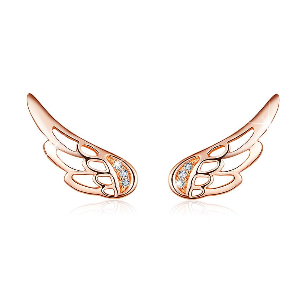 Solid 925 Sterling Silver Free Me Angel Wing Rose Gold Stud Earrings - Brilliant Co
