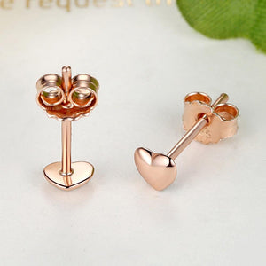 Solid 925 Sterling Silver Amore Love Heart Rose Gold Stud Earrings - Brilliant Co