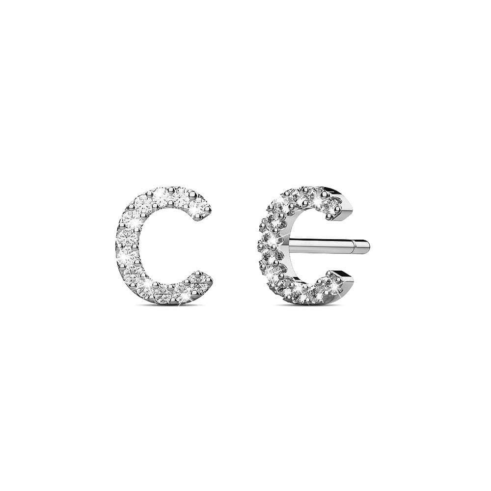 Solid 925 Sterling Silver Glamour Alphabet Letter Earrings  - C - Brilliant Co