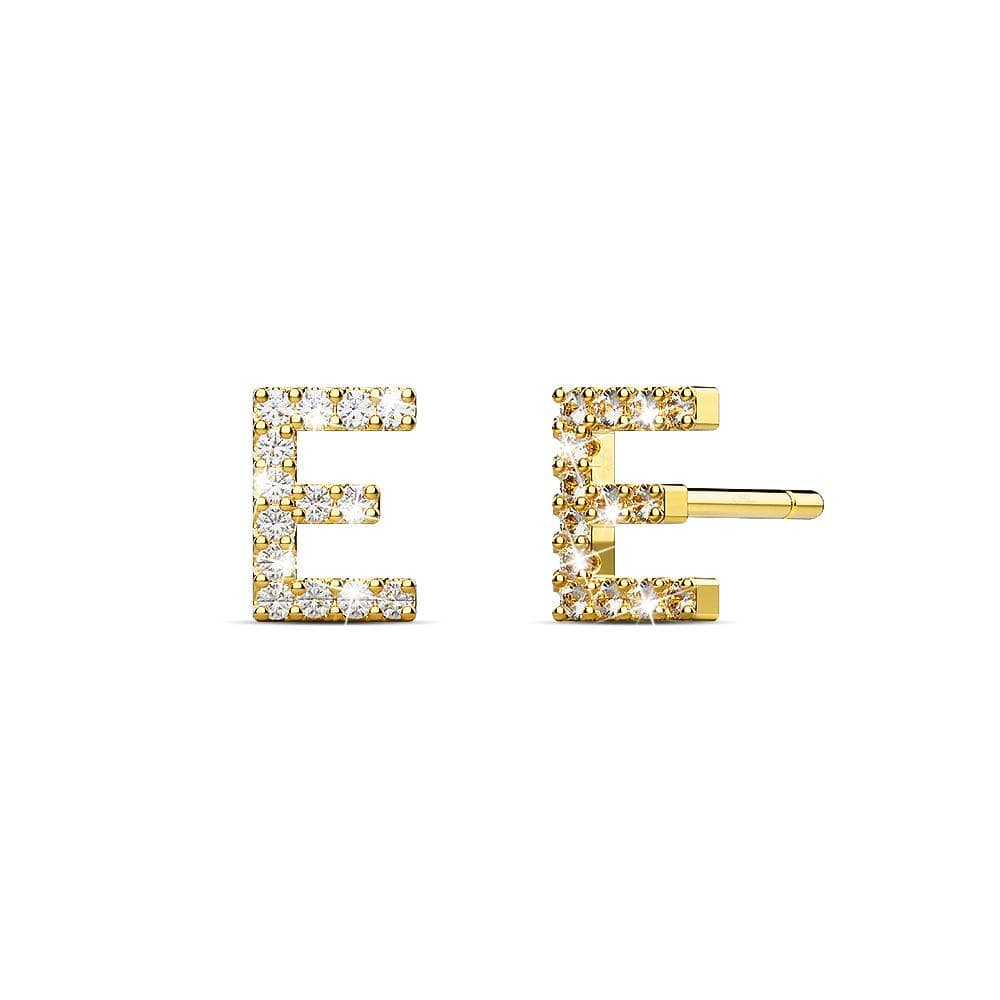 Solid 925 Sterling Silver Glamour Alphabet Letter Earrings Gold - E - Brilliant Co