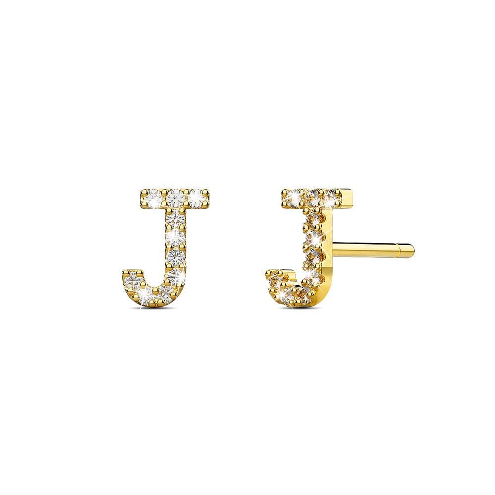 Solid 925 Sterling Silver Glamour Alphabet Letter Earrings Gold - J - Brilliant Co
