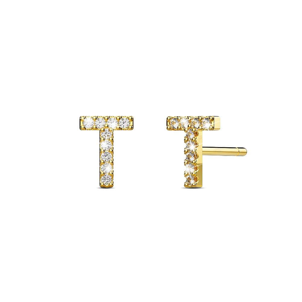 Solid 925 Sterling Silver Glamour Alphabet Letter Earrings Gold - T - Brilliant Co