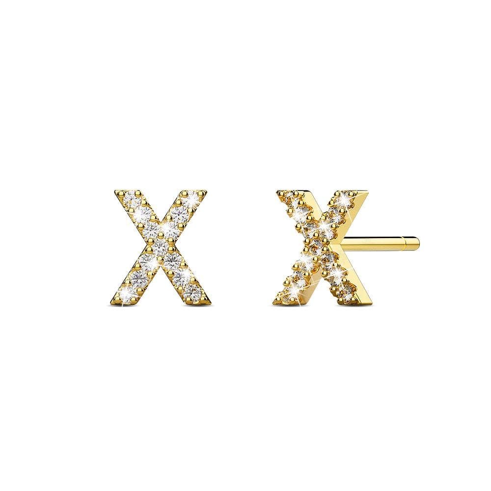 Solid 925 Sterling Silver Glamour Alphabet Letter Earrings Gold - X - Brilliant Co